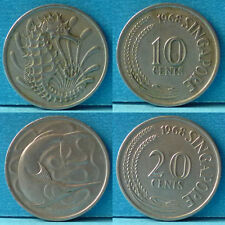 Singapore 10 and 20 Cents 2 pcs 1968 km 1 & 2