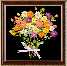 Colorful flower bouquet Ribbon embroidery kits canvas handcraft easy hand DIY