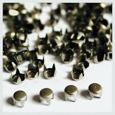 100 x 4mm Gun Metal Round Studs Rivets Leather Craft Punk Studs Goth spike Bag