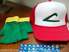 POKEMON GO  Hat & Glove Set  Ash Ketchum Trainer Costume -