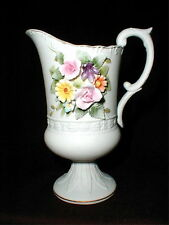 Lefton China #Kw4496 Bisque Raised Floral Creamer/Pitcher Japan