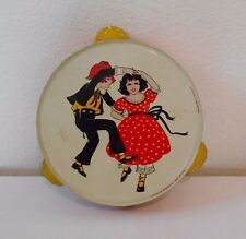 Vintage Mid Century Tin Litho Toy Musical Tambourine Kirchnof Life Of The Party