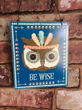 BE WISE OWL ANIMAL TRIBAL ADVENTURE PLAQUE SIGN DECORATION GIFT SASS & BELLE