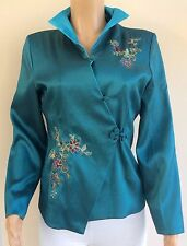 *NEW* Oriental Chinese Japanese Teal Floral Embroidered Jacket Size XL UK 12