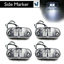 4X White LED Side Marker Light Clearance Lamp Car Truck Trailer Caravan 12V 24V