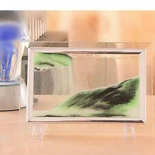 Metal Frame Moving Sand Time Glass Picture Home Office Desk Decor Craft Gift R