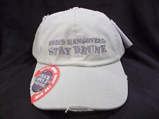 AVOID HANGOVERS STAY DRUNK DISTRESSED NOVELTY DRINKING Green BALL CAP HAT h27