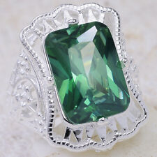 8Ct Nano Emerald 925 Solid Sterling Silver Victorian Style Ring Size 7 GR564
