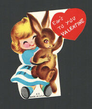Vintage Valentines Card Little Blond holding Brown Bunny Rabbit EAR'S to YOU