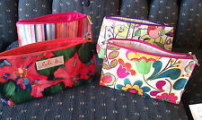 Lot of 4 New Clinique Makeup Cosmetic Bags lulu dk Floral Striped Clutch