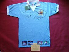 MANCHESTER CITY M.DOYLE -D.TUEART SIGNED 1976 LEAGUE CUP SHIRT-BNWT-MEDIUM-PROOF
