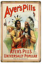 "Reproduction Ayers Pills Sign 12""x18"""