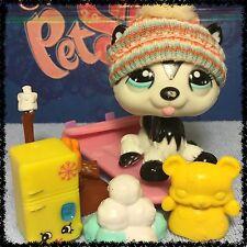 Littlest Pet Shop RARE Polar Husky Dog #2246 Blythe Black and White BLEMISHED