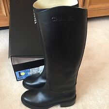 CHANEL 2014 14B Black Calfskin Leather Tall Knee High Riding Flat Boots $1725 35