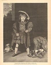 Cavalier King Charles Spaniels, Child, Master Crew, Vintage 1890 Antique Print