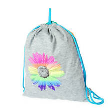 Rainbow Daisy Reversible Drawstring Bag Rhinestone Flowers Bling Rainbow NWT