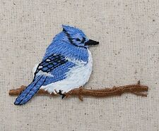 Iron On Embroidered Applique Patch - Bluejay Facing Right - Tree Branch - Bird