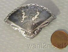 vtg SIAM STERLING FAN PIN Silver & Gunmetal Niello Enamel Figures 10g