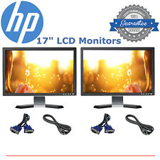 "DELL HP SAMSUNG MAJOR BRAND Dual 17"" Matching LCD Monitors w/ cables- DEAL"
