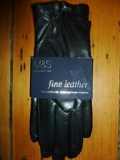 M&S COLLECTION FINE LEATHER GLOVES BLACK WATER RESISTANT SIZE S FREE UK POST