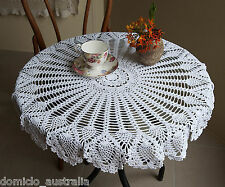 Cotton Hand Crochet Lace Pineapple Floral Doily Tablecloth Round 80CM White FP02