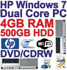 Windows 7 HP Dual Core 2x3.40GHz Desktop PC Computer - 4GB RAM - 500GB HDD Wi-Fi