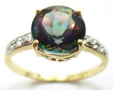 10KT YELLOW GOLD ROUND MYSTIC TOPAZ & DIAMOND RING SIZE 7, 1.5g