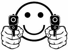 SMILEY FACE GUNS Vinyl Decal Sticker Car Window Wall Bumper Ammo 2nd Amendment