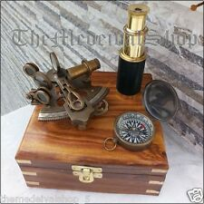 SOLID BRASS MARITIME COLLECTIBLE GERMAN SEXTANT/COMPASS/TELESCOPE W/WOODEN BOX