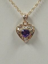 Heart Shape Natural Amethyst Diamond Pendant 14kt Yellow Gold