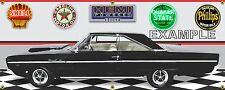 1966 DODGE CORONET HEMI 440 BLACK CAR GARAGE SCENE BANNER SIGN ART MURAL 2' X 5'