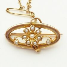 ANTIQUE ART NOUVEAU BROOCH 15CT FLOWER BROOCH SET WITH PEARLS GOOD QUALITY