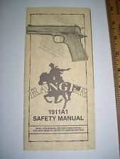 VINTAGE RANGER 1911A1 .45 SAFETY MANUAL W/ATTACHED WARR. CARD NEW OLD STOCK GUN