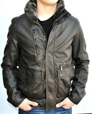KENNETH COLE Men's Faux Leather Removable Faux Fur Collar Insulated Jacket/Coat