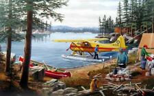 "Ken Zylla Fly In Float Plane Lake Camp Signed and Numbered Art Print 28"" x 18"""