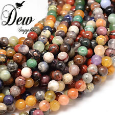 48 x Natural Assorted Stone Round Bead Gemstone Beads wholesale, 8mm