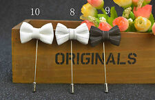 Fashion Men's Bow Tie Pin Boutonniere Lapel Handmade Solid Brooch Accessories