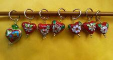 Stitch marker, knitting 6+1,  cloisonne  heart shaped beads, red