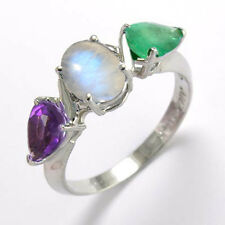14k Solid Gold Amethyst Moon-Stone and Emerald Three-Stone Ring. R1888