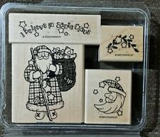 Stampin' Up STITCHED SANTA Set of 4 Wood Mounted Rubber Stamps Lot Christmas