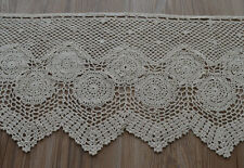 "36"" Ecru Hand Crochet Lace Kitchen Cafe Window Curtain Valance 16"" length"