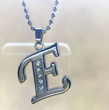 Fashion letters E name silver plated crystal pendant necklace chain JEWELRY !