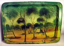 "Vintage Australian Tin Serving Tray, ""Trappers Camp"" by Pro Hart, 1975 (4376)"