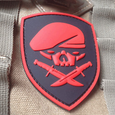 RED SPECIAL FORCES SKULL MEDAL OF HONOR MOH RANGER 75th REGIMENT 3D PVC PATCH
