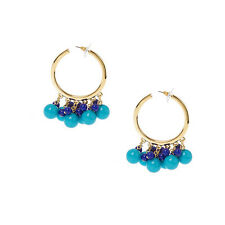 Kenneth Jay Lane Fashion Blue/Goldtone Guru Hoop Earrings - Pierced - QVC