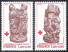 FRANCIA 1980 Croce Rossa/medico/salute/benessere/Intaglio/arte/uva/vino 2v (n30554)