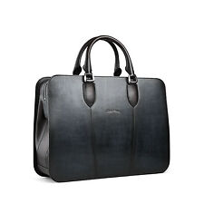 SANTONI *New* Brushed Black Leather Briefcase. Selling in Boutiques for $2000