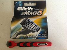 GILLETTE MACH3 RAZOR BLADES X 4 + Mach3 Turbo Handle