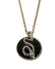 "DANIELA SWAEBE ""SERPENT"" ONYX AND CZ GOLDTONE PENDANT 16-1/4"" CHAIN NECKLACE HSN"