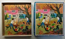 VINTAGE CHILDREN'S WOODEN PUZZLE BY GALT TOYS FAMILY GARDEN BONFIRE ANTIQUE